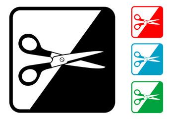 Icono simbolo tijeras en varios colores