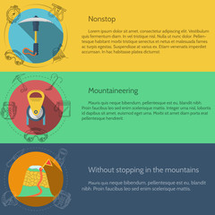 Mountaineering equipment flat color vector illustration