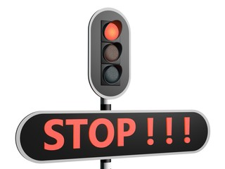 Stop sign - red light