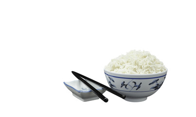 Natural Organic Cooked Rice with Asian Bowl  and Chopsticks