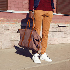 Fashion male look. Detail of trendy clothes stylish man