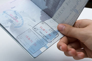 Inside of American Passport with Departure/Arrival stamps