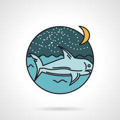 Night seascape flat design vector icon