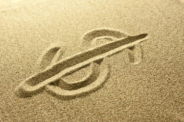 dollar sign Written in the Sand