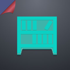 Bookshelf icon symbol. 3D style. Trendy, modern design with spac