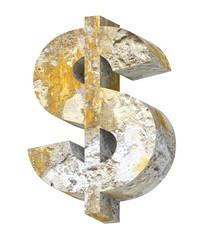 Dollar sign from old concrete alphabet set isolated over white.