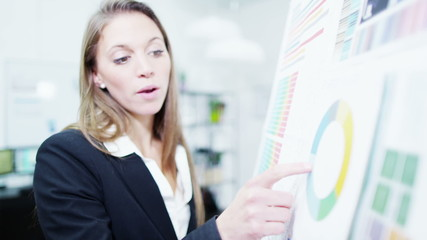Attractive female professional giving a business presentation