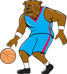 Bulldog Basketball Player Dribble Cartoon