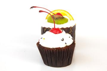 single lemon cupcake - Stock Image