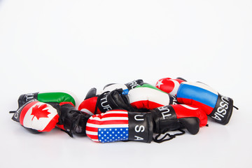 fashioned Boxing Gloves - Stock Image