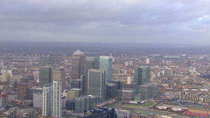 Panoramic aerial view and cloudscape over London
