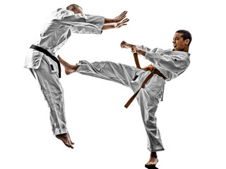 karate men teenager student fighters fighting