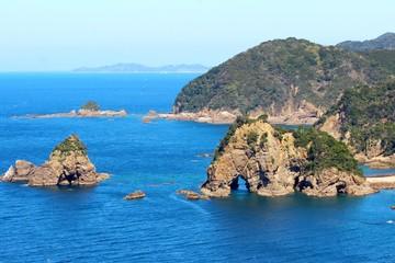 天草西海岸 妙見浦の象さん岩が見える風景