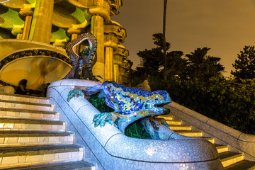 Sculpture of a salamandra  in park Guell in Barcelona