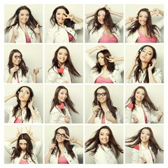 Collage of portraits of a beautiful young woman