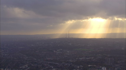 Aerial view of sunrise above the city of London