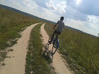 In the field on the bike