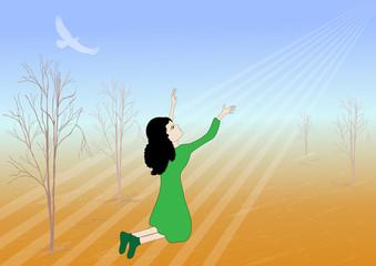 Girl praying for rain -vector illustration