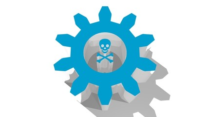 gear shape tunnel with skull and crossbones within