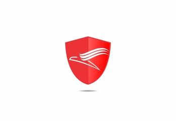 shield, logo, flying bird, business, modern, simple icon