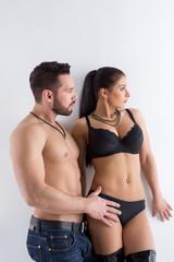 Studio shot of attractive sexy couple posing