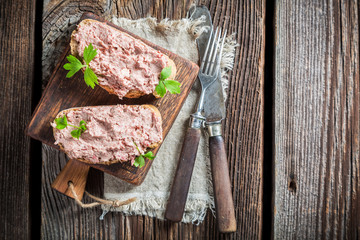 Delicious sandwich made of pate with parsley