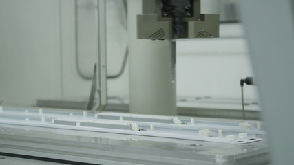 Factory machinery with robotics in operation