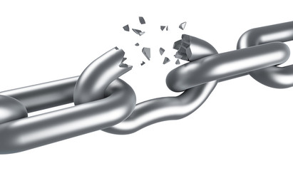 Steel chain breaking isolated on white