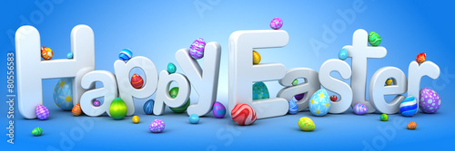 Happy Easter background with eggs - 80556583