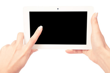 tablet computer isolated in a hand on the white backgrounds