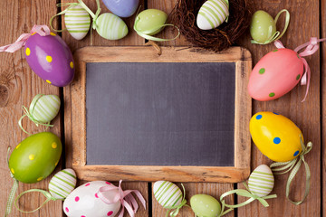Easter holiday background with chalkboard and eggs decorations