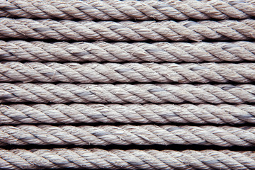 old white rope arrangement as pattern use as texture ,background