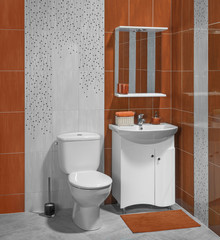 Beautiful interior of bathroom with sink and toilet