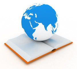 Open book and globe on white background