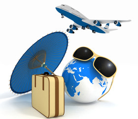 Suitcase, airplane, globe and umbrella. Travel and vacation