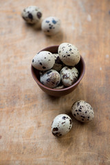 Quail eggs in a ceramic bowl, selective focus