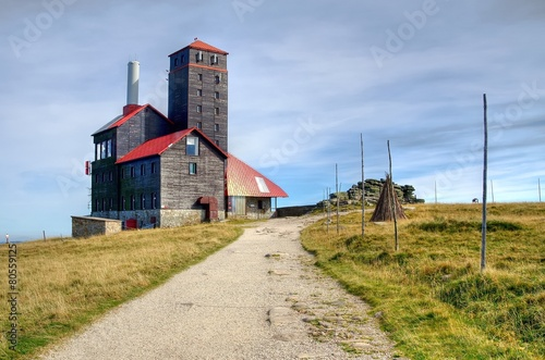 Relay station in mountains.  Karkonosze Mountains, Poland. - 80559125