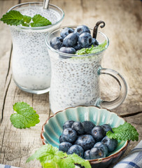 Chia seed pudding made with blueberries