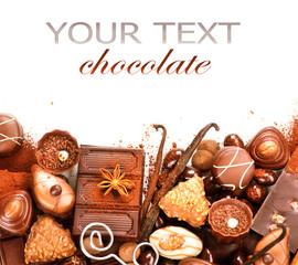 Chocolates border isolated on white background. Chocolate
