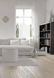 Corner of a comfortable white modern living room