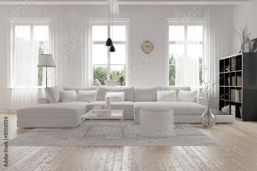 Modernes geräumiges Wohnzimmer im skandinavischen Design - 80561134
