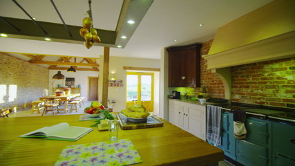 Interior view of the kitchen area in a stylish country home