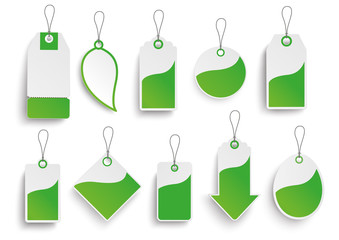 set of green price stickers