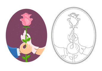Couple of hands hold rose. Eps10 vector illustration. Isolated