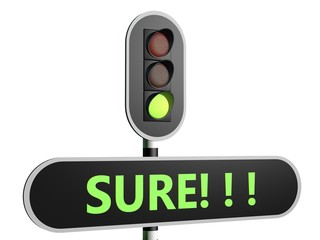 "Traffic sign with English text ""Sure"""