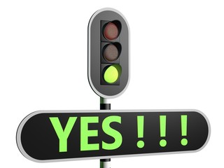 "Traffic sign with English text ""YES"""