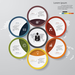 6 steps chart template/graphic or website layout.