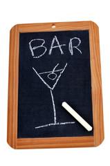 Bar noté sur une ardoise