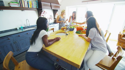 Cheerful group of female friends chatting as they prepare a healthy lunch