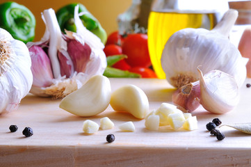 Prepared white garlic on a cutting table
